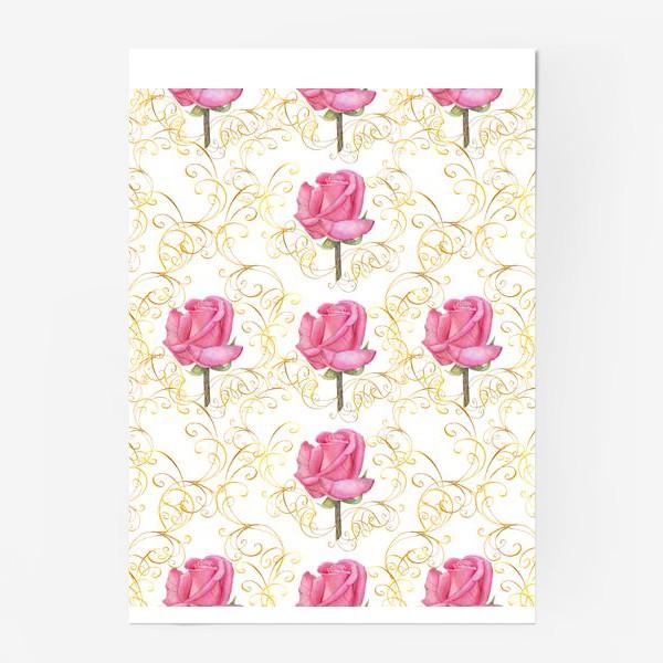 Постер «Pink rose seamless pattern.»