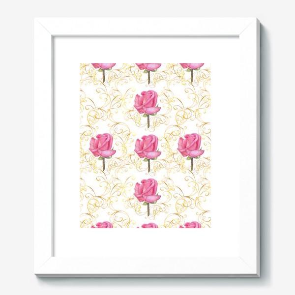 Картина «Pink rose seamless pattern.»