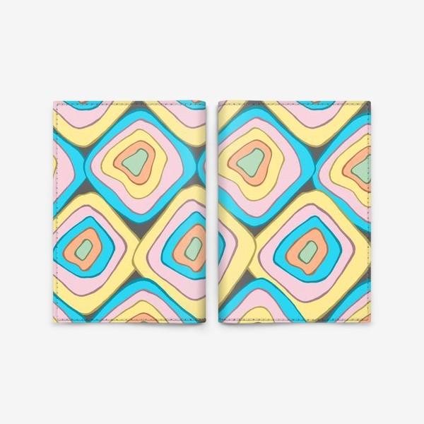 Обложка для паспорта «Абстрактные квадраты разноцветный»