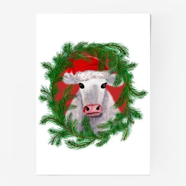 Постер «Новогодняя белая бурёнка в рамке из хвойных ветвей»