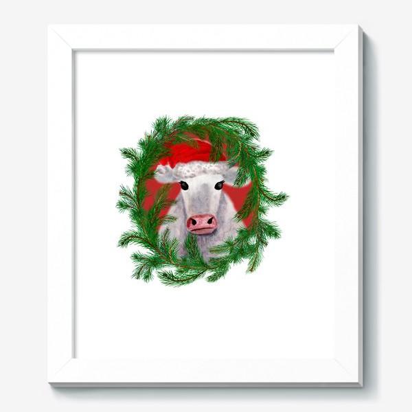 Картина «Новогодняя белая бурёнка в рамке из хвойных ветвей»