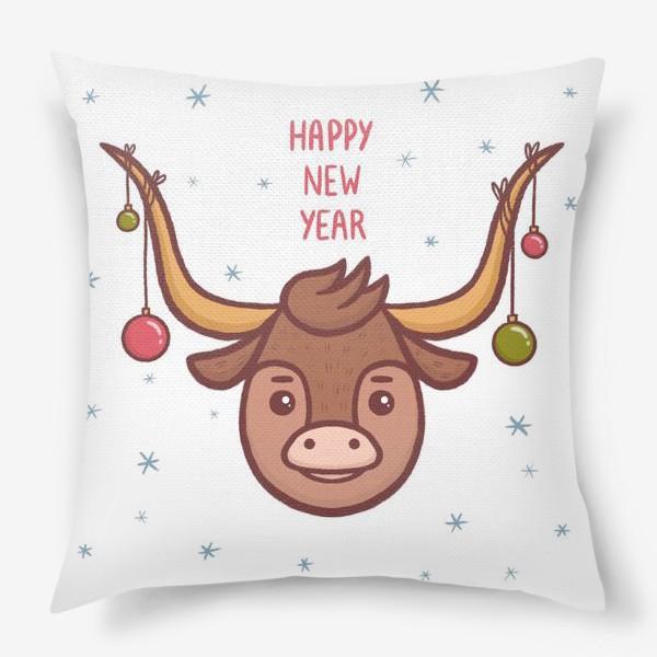Подушка «Милый бык. Новый год 2021»