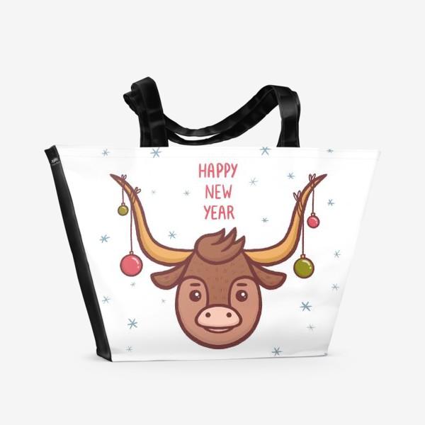 Пляжная сумка «Милый бык. Новый год 2021»