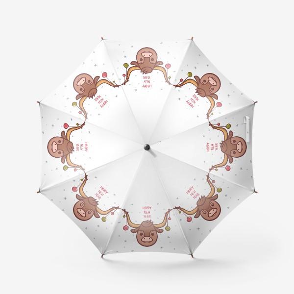 Зонт «Милый бык. Новый год 2021»