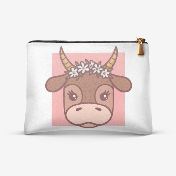 Косметичка «Милая корова в цветочном венке. Новый год 2021»
