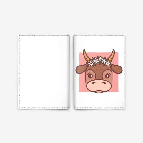 Обложка для паспорта «Милая корова в цветочном венке. Новый год 2021»