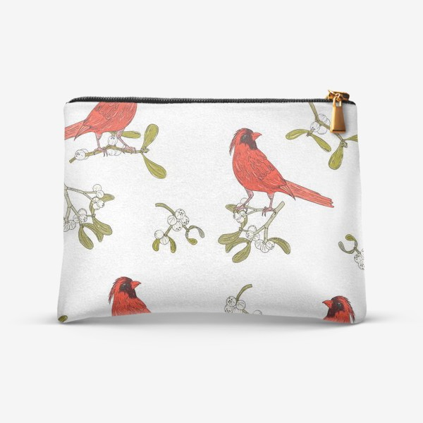 Косметичка «омела и красная птица»