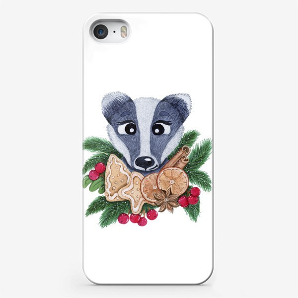 Чехол iPhone «Christmas badger»