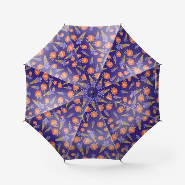 Зонт «Мороженое с приведением, тыквенная чашка. Хэллоуин. Паттерн»
