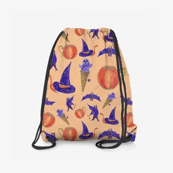 Рюкзак «Кот под шляпой ведьмы, мороженое из привидения, тыквенная чашка, летучие мыши. Хэллоуин. Паттерн»