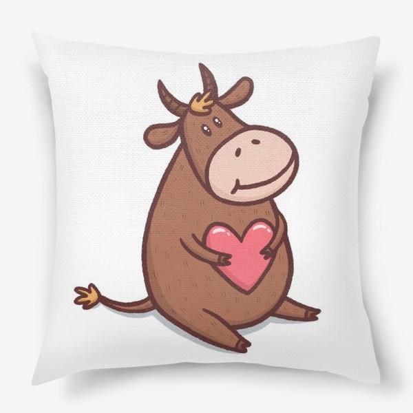 Подушка «Милый бык с сердечком на белом фоне»