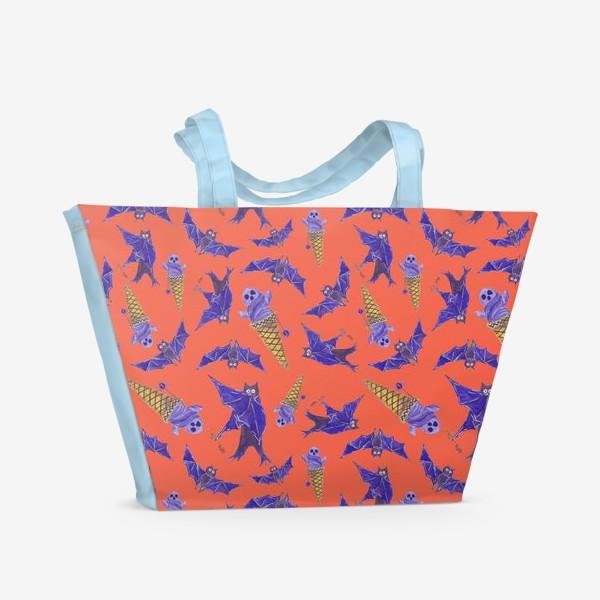 Пляжная сумка «Летучие мыши, привидение в мороженом. Хэллоуин. Паттерн»