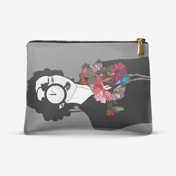 Косметичка «Девушка, часы, цветы, сюрреализм »