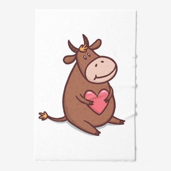 Полотенце «Милый бык с сердечком на белом фоне»