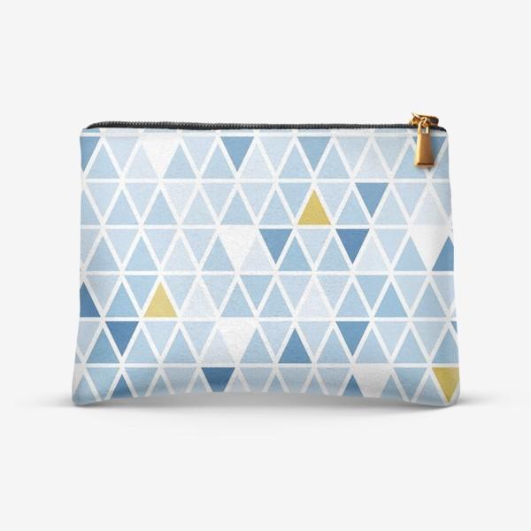 Косметичка «Графика в бледно голубых тонах с треугольниками»