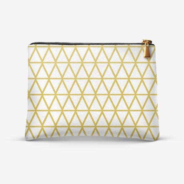 Косметичка «Графика на белом фоне в желтых тонах с треугольниками»
