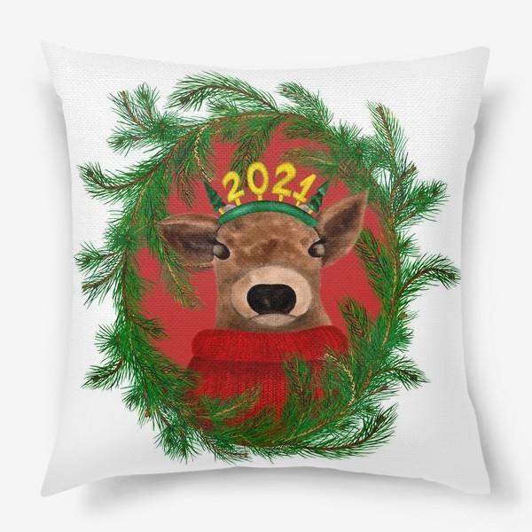 Подушка «Новогодний бычок 2021 в рамке из еловых веток»