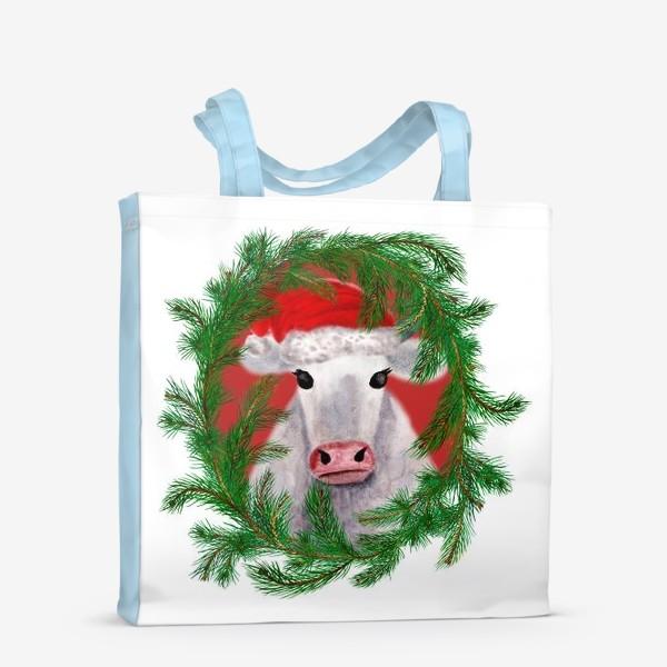 Сумка-шоппер «Новогодняя белая бурёнка в рамке из хвойных ветвей»