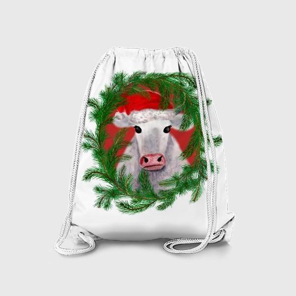 Рюкзак «Новогодняя белая бурёнка в рамке из хвойных ветвей»