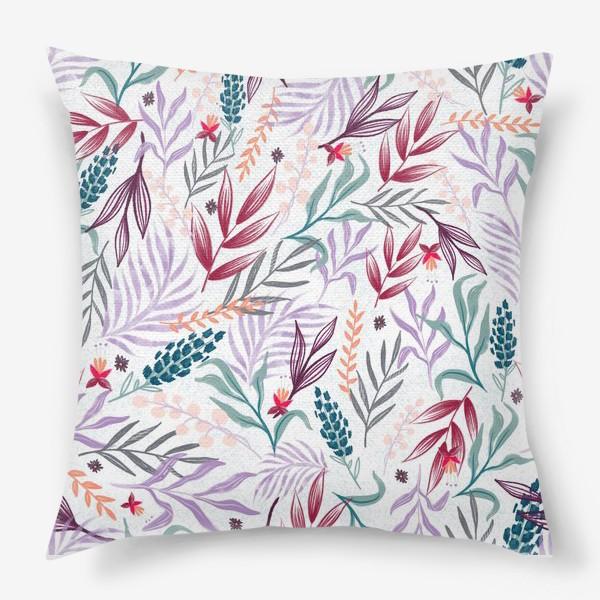 Подушка «ботаника на белом»