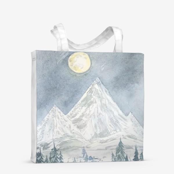"""Сумка-шоппер «""""Полная Луна и горы"""" постер»"""