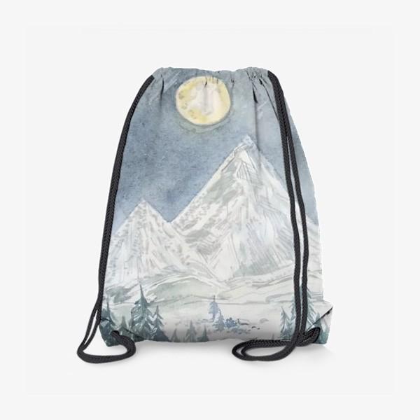 """Рюкзак «""""Полная Луна и горы"""" постер»"""
