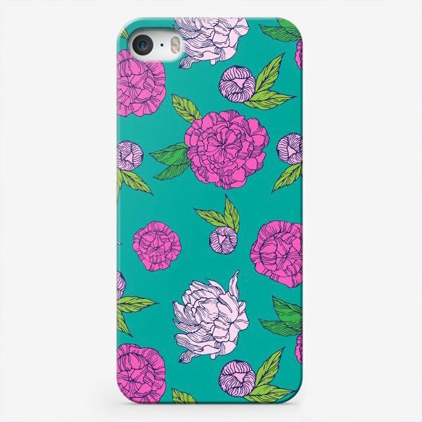 Чехол iPhone «Пионы на бирюзовом фоне»