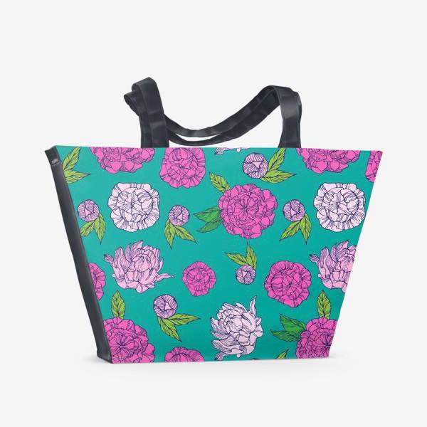 Пляжная сумка «Пионы на бирюзовом фоне»