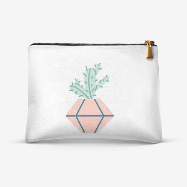 Косметичка «Милый кактус в розовом горшке. Симпатичное домашнее растение»