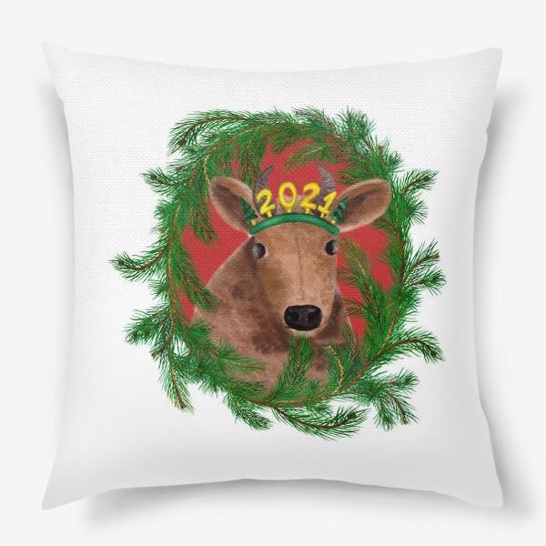 Подушка «Новогодняя буренка Алёнка в рамке из еловых веток»