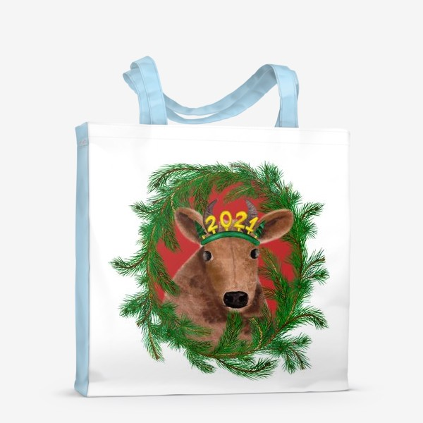 Сумка-шоппер «Новогодняя буренка Алёнка в рамке из еловых веток»