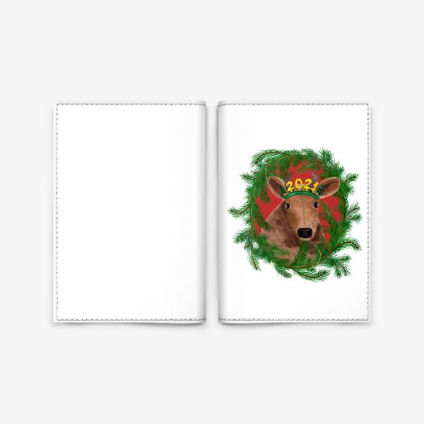 Обложка для паспорта «Новогодняя буренка Алёнка в рамке из еловых веток»