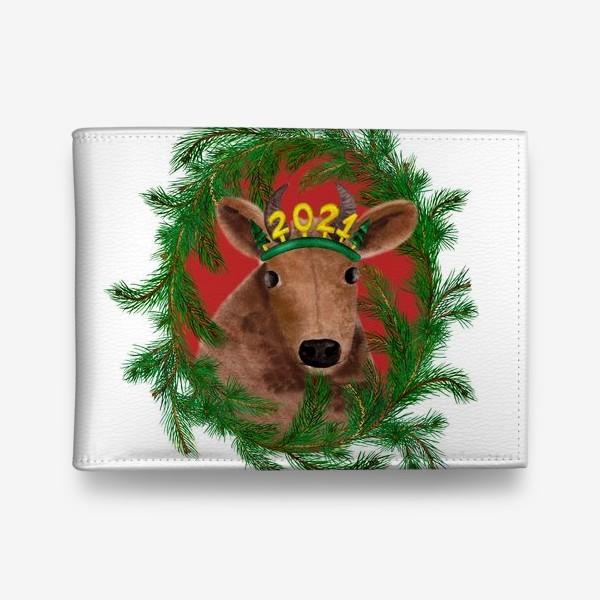 Кошелек «Новогодняя буренка Алёнка в рамке из еловых веток»