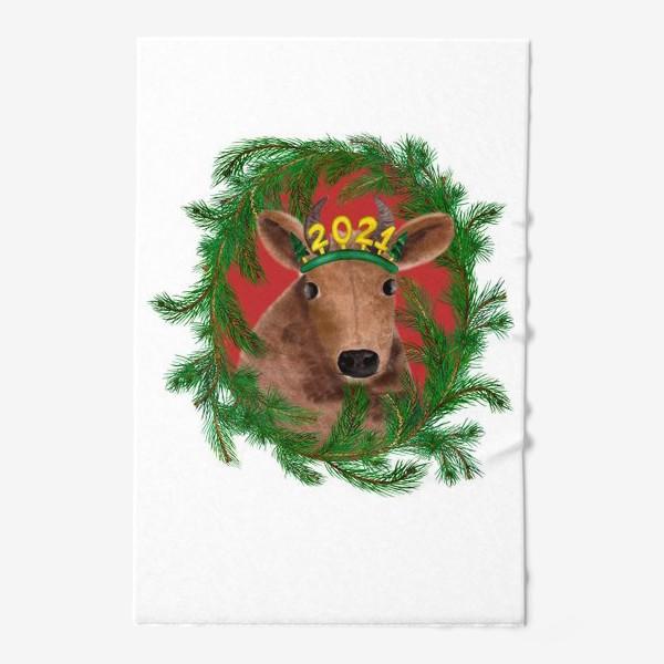 Полотенце «Новогодняя буренка Алёнка в рамке из еловых веток»