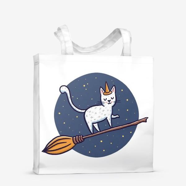 Сумка-шоппер «Белый кот на метле. Хэллоуин»