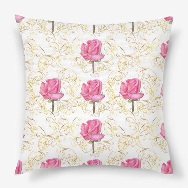 Подушка «Pink rose seamless pattern.»