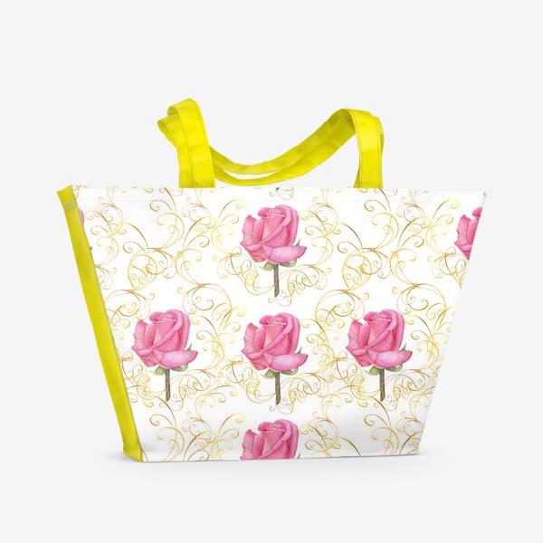 Пляжная сумка «Pink rose seamless pattern.»