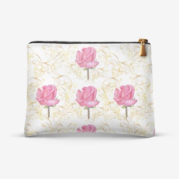 Косметичка «Pink rose seamless pattern.»
