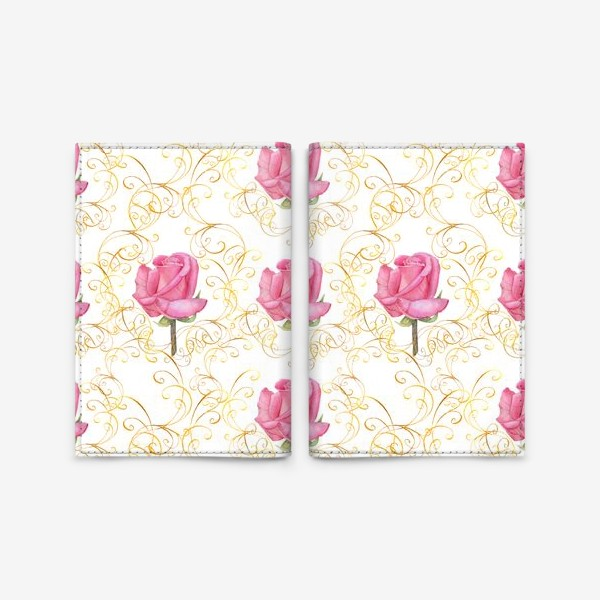 Обложка для паспорта «Pink rose seamless pattern.»
