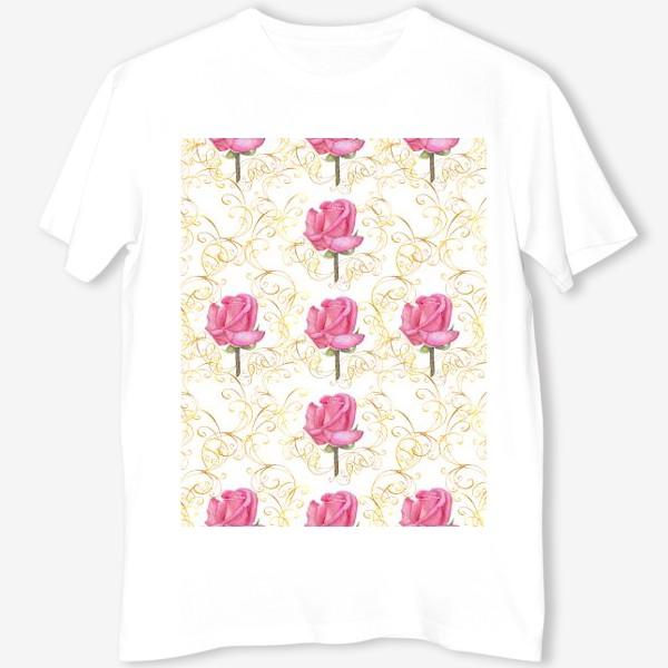 Футболка «Pink rose seamless pattern.»