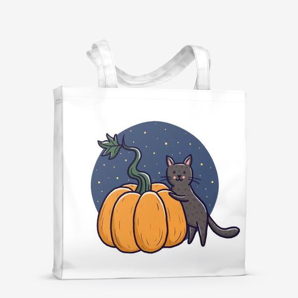 Сумка-шоппер «Серый кот с тыквой. Хэллоуин»
