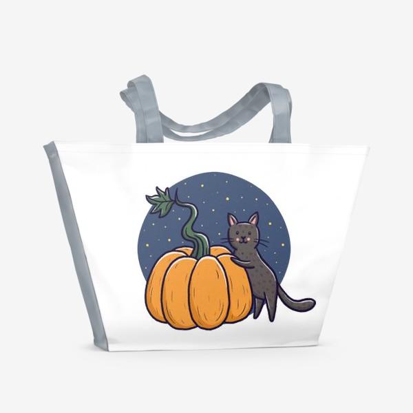 Пляжная сумка «Серый кот с тыквой. Хэллоуин»