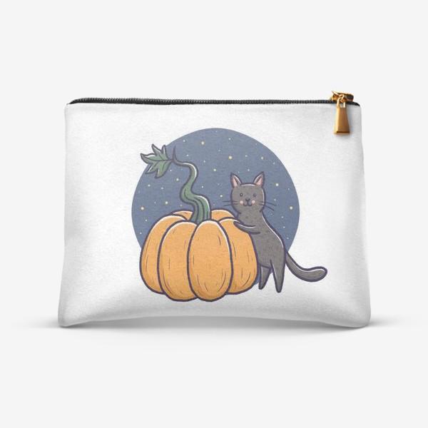 Косметичка «Серый кот с тыквой. Хэллоуин»
