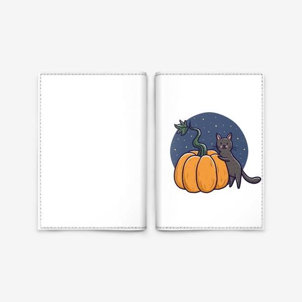 Обложка для паспорта «Серый кот с тыквой. Хэллоуин»