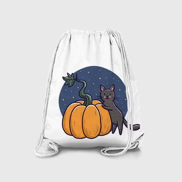 Рюкзак «Серый кот с тыквой. Хэллоуин»