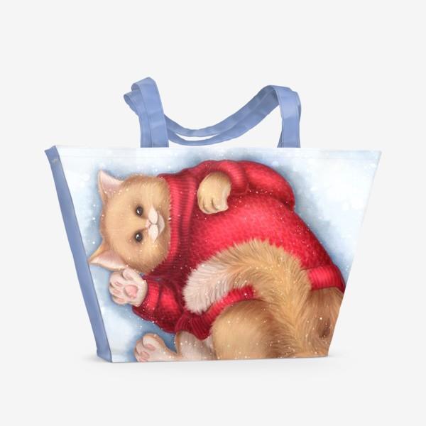 Пляжная сумка «Кот в свитере»