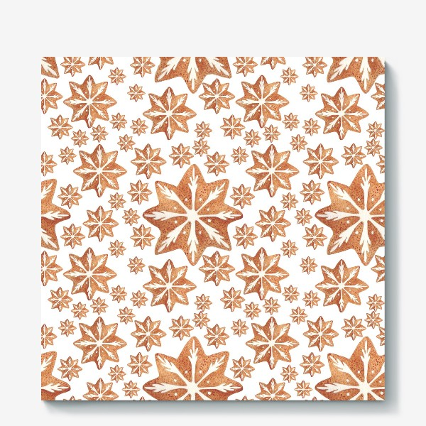 Холст «Имбирный пряник. Новый год. Зима. Снежинки. Снег. Паттерн»