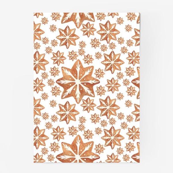 Постер «Имбирный пряник. Новый год. Зима. Снежинки. Снег. Паттерн»