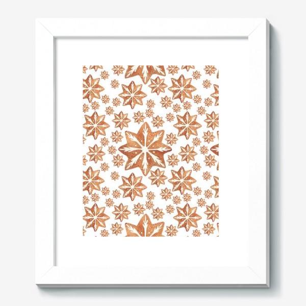 Картина «Имбирный пряник. Новый год. Зима. Снежинки. Снег. Паттерн»