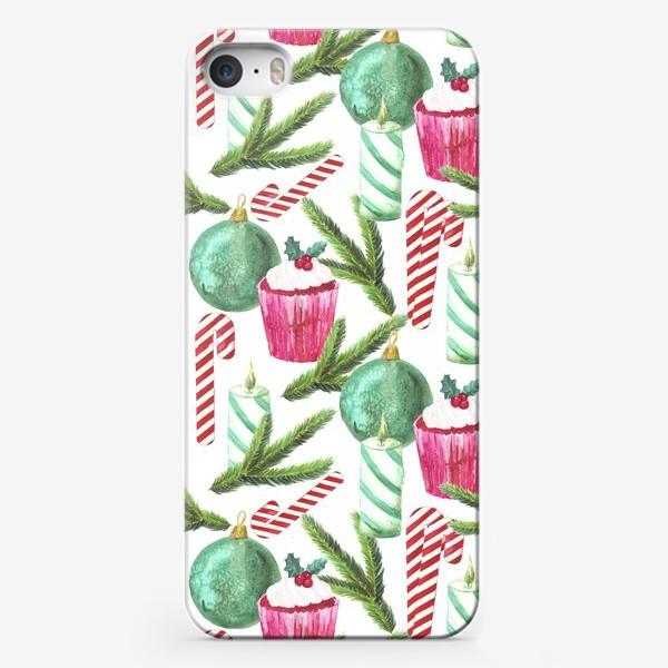 Чехол iPhone «Новый год. Зима. Панкейк. Свеча. Еловая ветвь. Стеклянный шар. Сахарная трость. Паттерн»